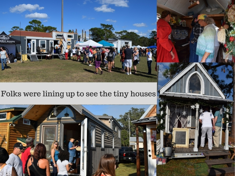 Folks were lining up to see the tiny houses