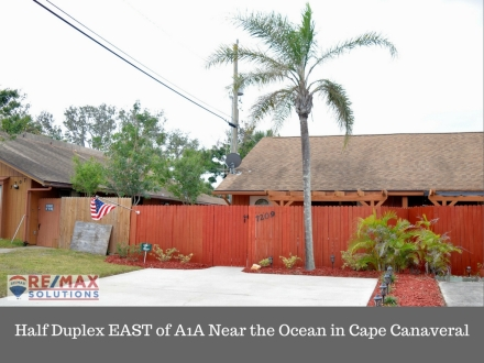 Half Duplex EAST of A1A Near the Ocean in Cape Canaveral