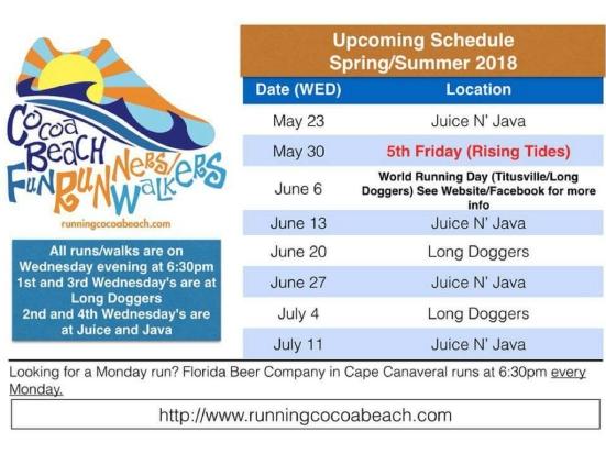 Cocoa Beach fun runners schedule