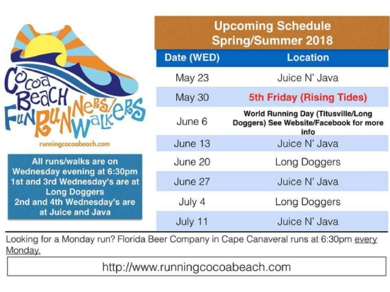 Cocoa Beach fun runners schedule