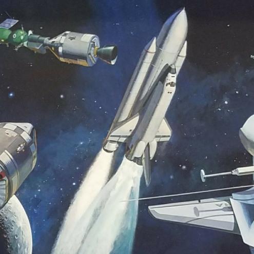 NASA Mural shuttle launch