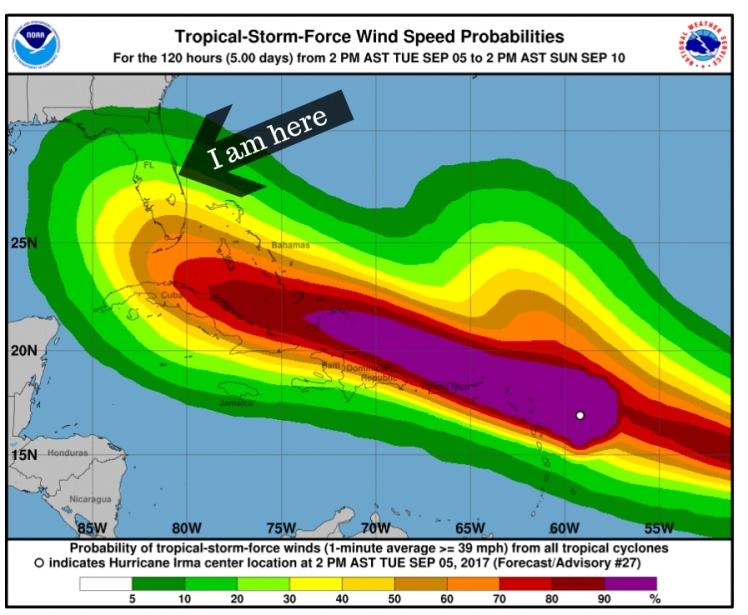 I am here. Wish me luck!!! Hurricane Irma 2017