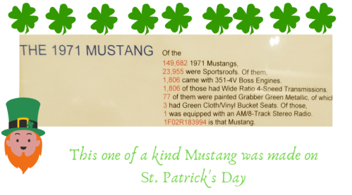 This one of a kind Mustang was made on St. Patrick's Day