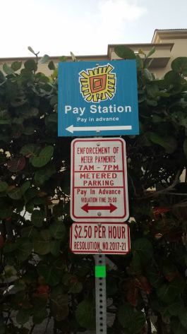 Look for the Pay Station signs if parking in a lot or the beach end of the streets