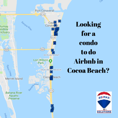 Map view of Cocoa Beach showing where condos that alllow 1 week rentals