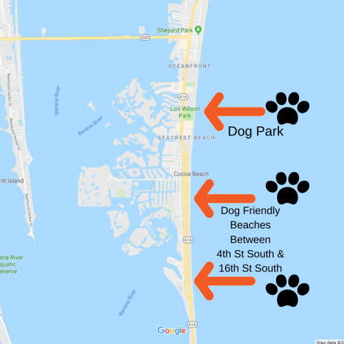 Google map view of pet friendly parts of Cocoa Beach