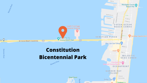 Google map view Bicentennial Park Cocoa Beach