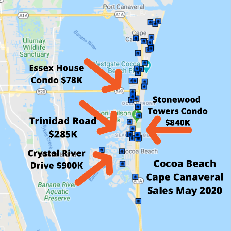 Map View of the sales in Cocoa Beach and Cape Canaveral May 2020