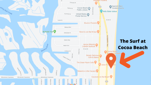 Map view of the Surf at Cocoa Beach condominiums