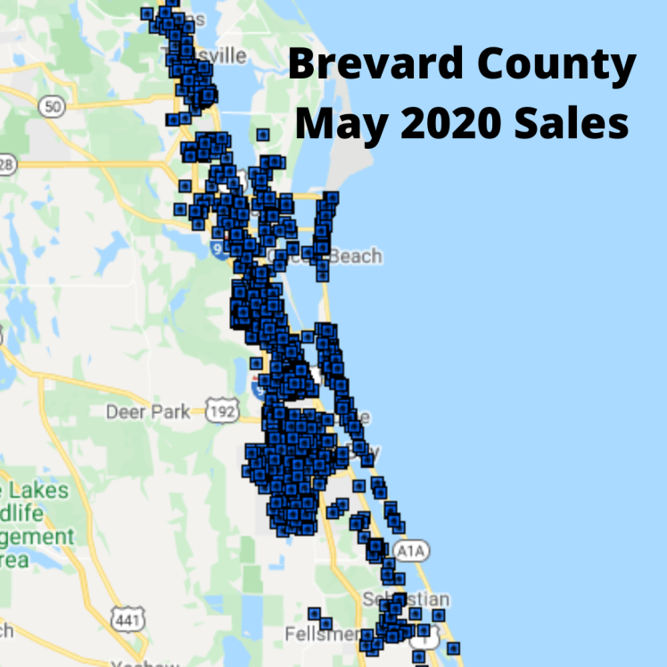 Map View of the home sales in Brevard County for May 2020