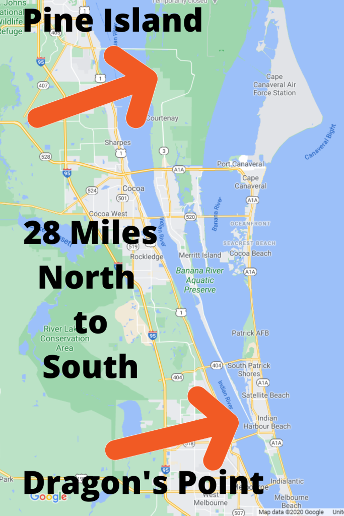 google map view of Merritt Island. From Pine Island to the north to Dragon Point to the south, Merritt Island is 28 miles long.