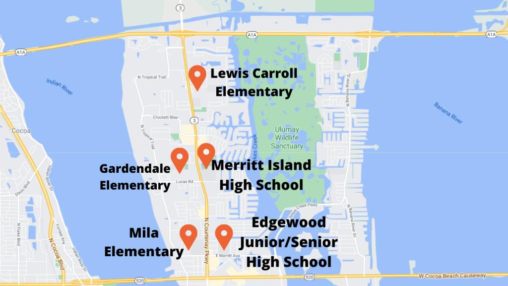 5 schools in central merritt island