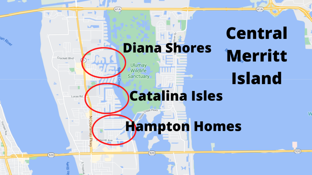 Google maps view of the 3 popular communities in central Merritt Island