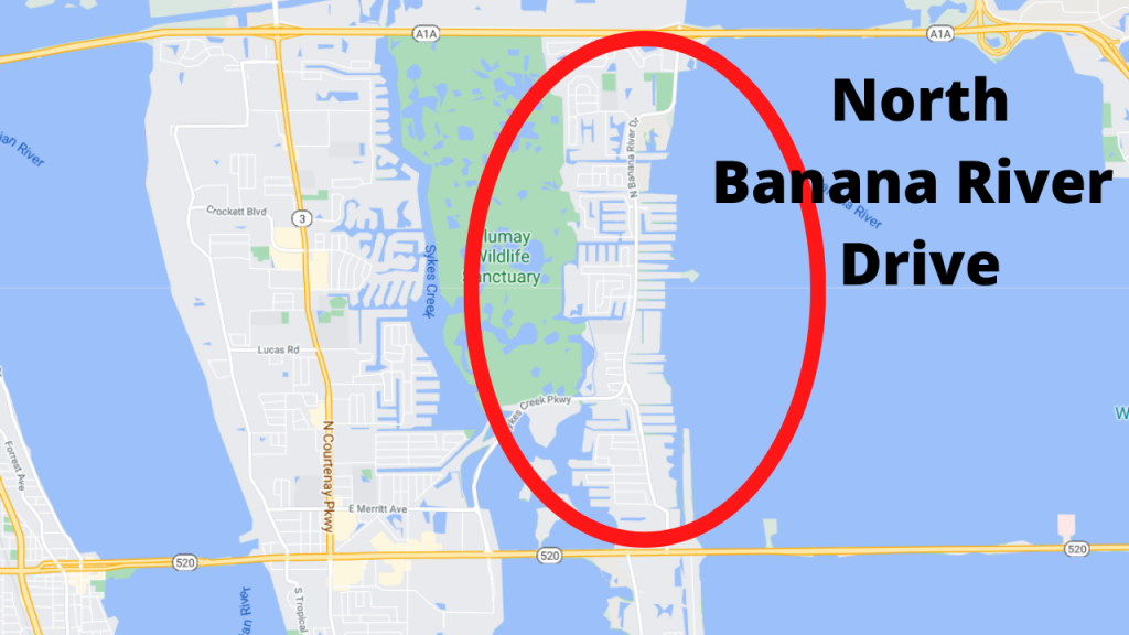 google maps view of North Banana River Drive