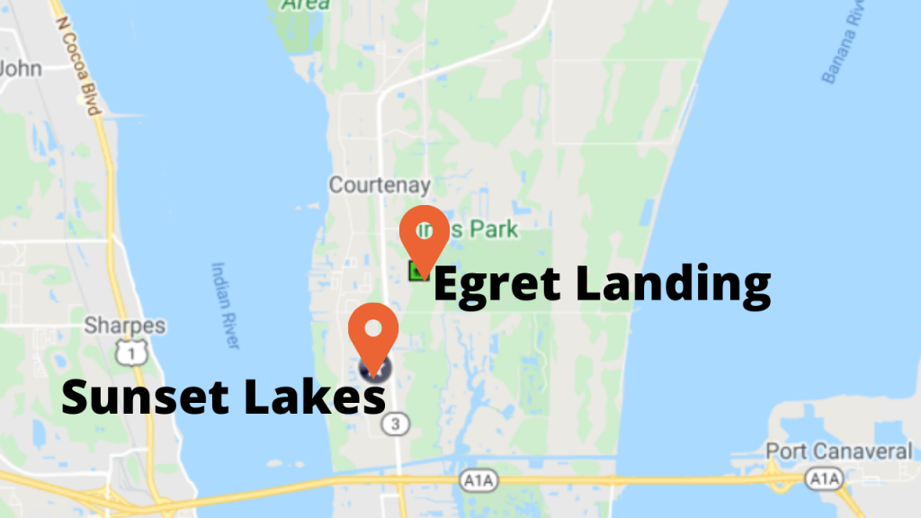 google maps view of the 2 best selling communities in North Merritt Island