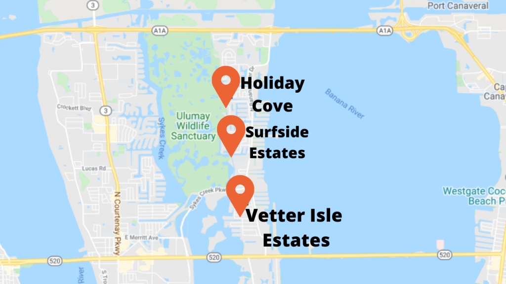 the 3 best selling communities in the Banana River Drive area of Merritt Island