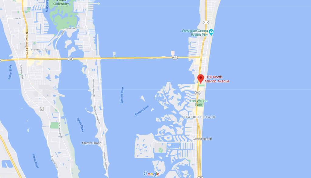 map view of the Diplomat in Cocoa Beach