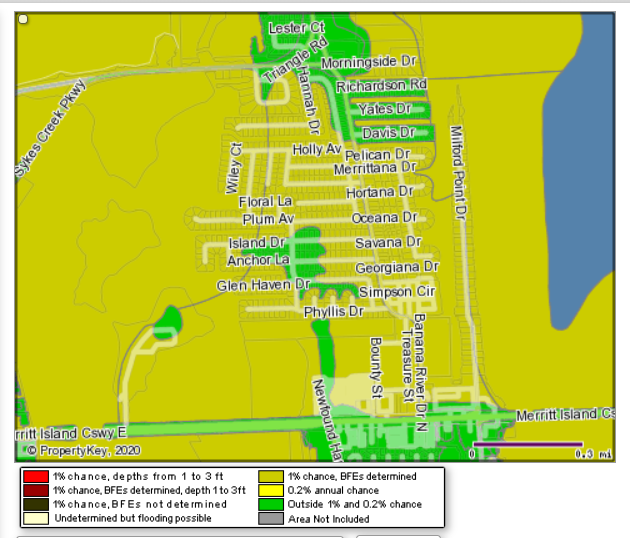 Color coded map of a section of N Banana River Drive. The yellow represents a flood zone. The Green represents a non-flood zone area.