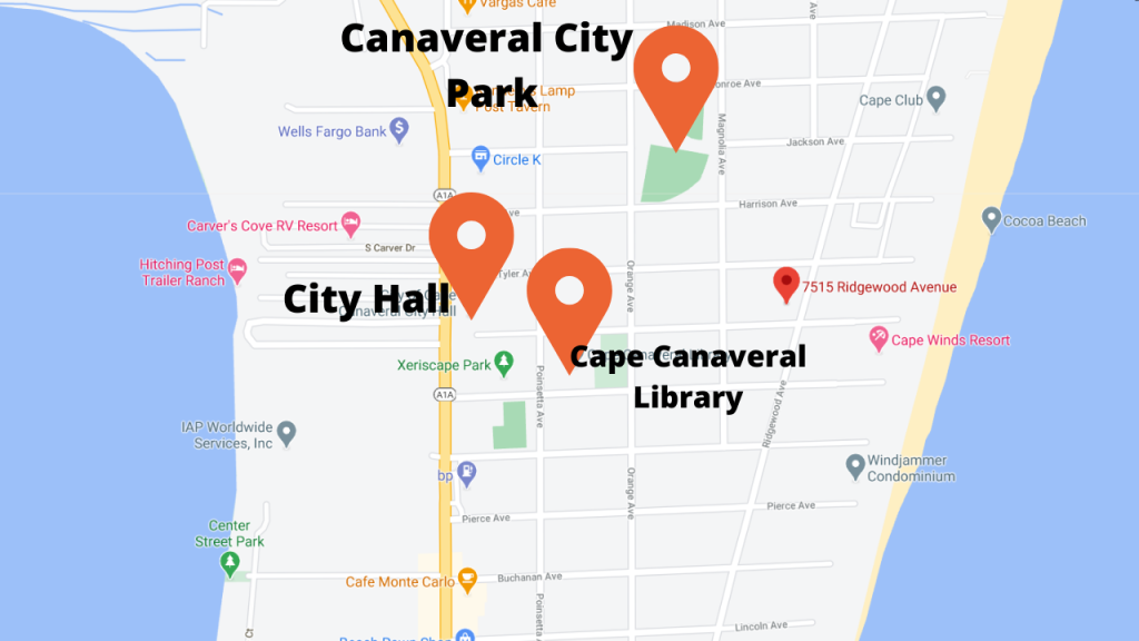 Map view of the Lamp Post. You are near the beach, the library, city hall, and several parks.