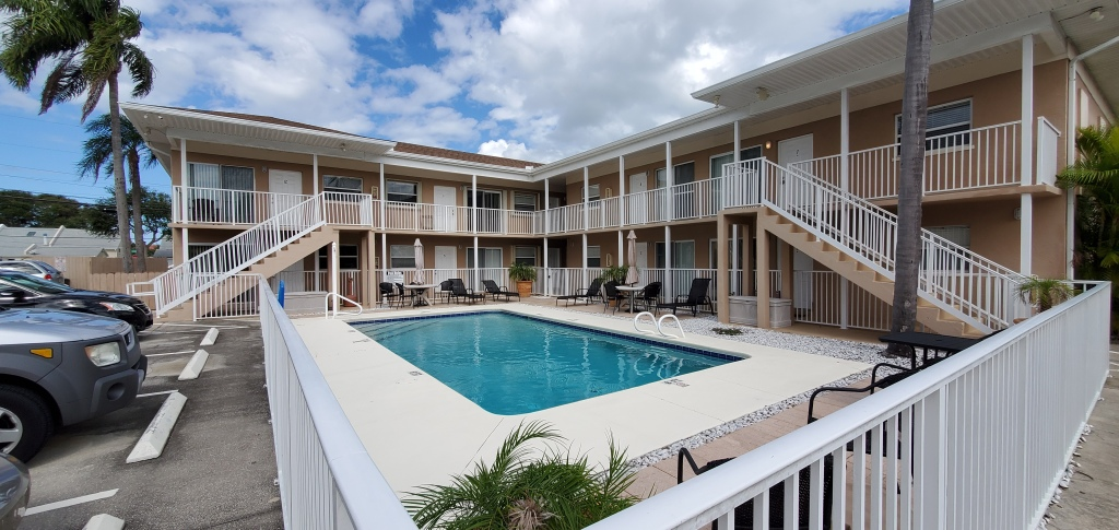 Manatee Condo is a 2 story complex overlooking their pool.