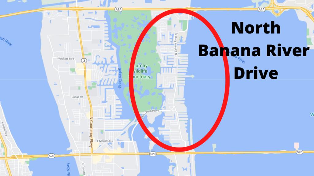 google map view of N Banana River Drive in Merritt Island Florida