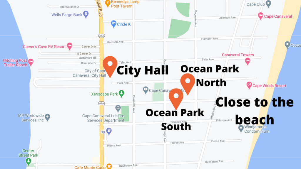 Map view of Ocean Park North and Ocean Park South. Located near city hall and the beaches.