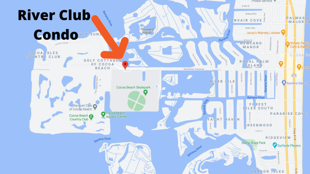 Google map view of Cocoa Beach showing the River Club condos