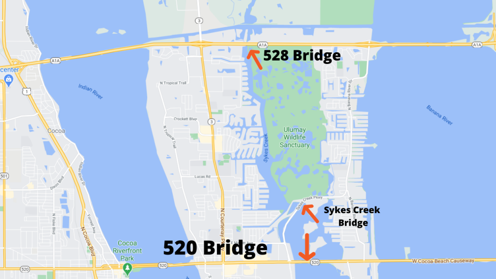 google map view of central Merritt Island showing the 3 bridges you should be aware of IF you are on a boat on Sykes Creek.