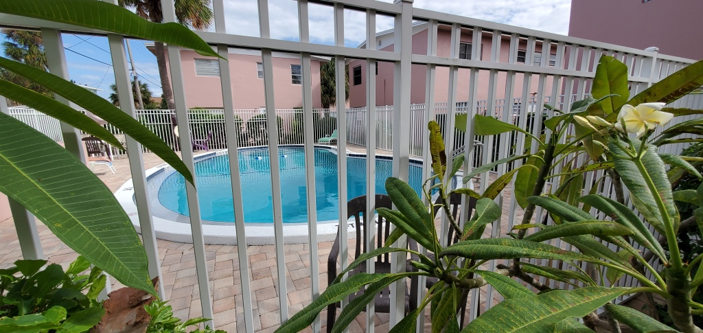 Tropical foilage helps provide privacy at the starbeach condos pool.