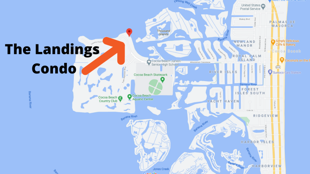 map view of the Landings Condo in Cocoa Beach Florida
