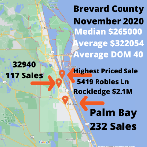 Google map of Brevard County with stats for the month of November 2020
