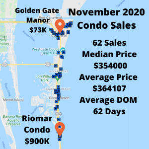 map view of Cocoa Beach and Cape Canaveral showing the condo sales for November 2020