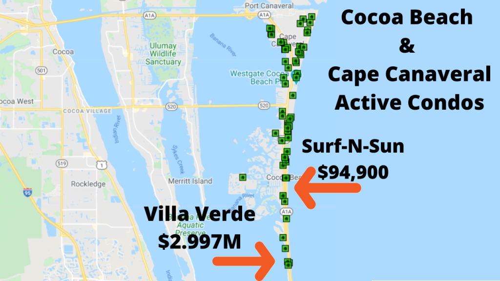 map view of the active condos in Cocoa Beach as of February 6, 2021.
