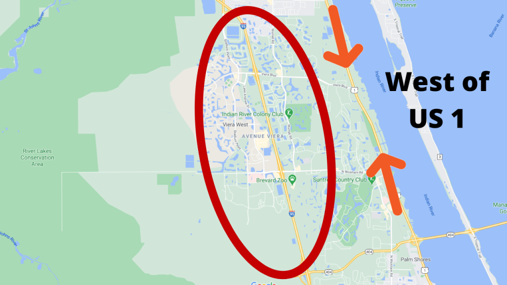 google map view showing how far inland Viera is. Since Viera is west of US1, evacuation due to a hurricane is not mandatory.