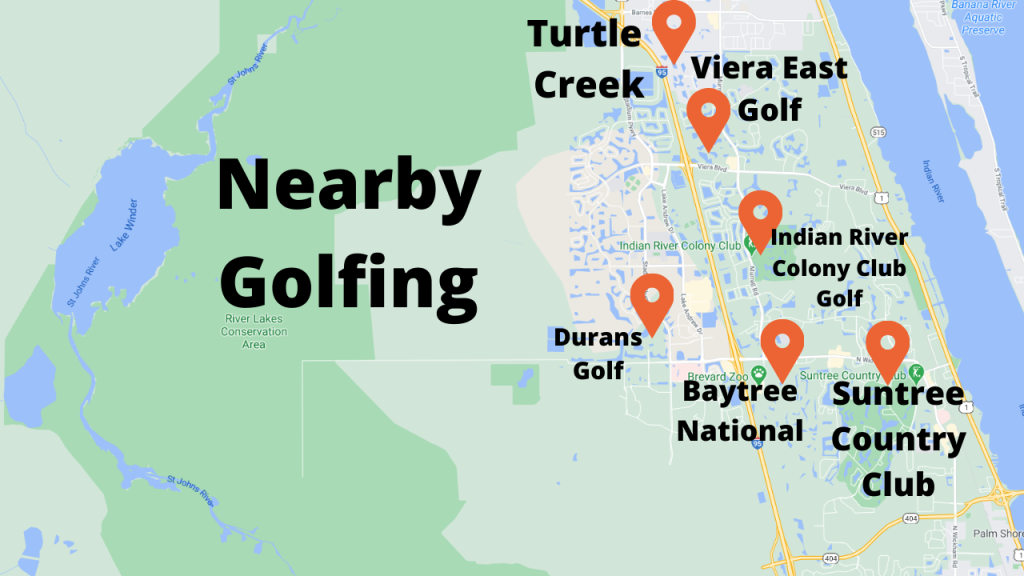 Google map view of the area golf courses in & around viera.