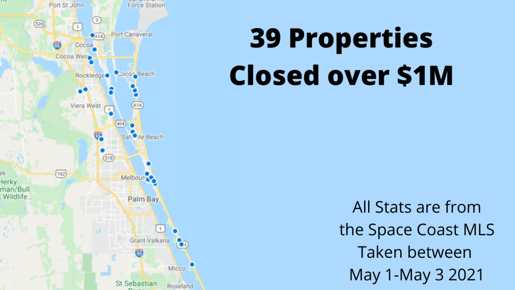 map view of the 39 properties to sell in Brevard County over $1M