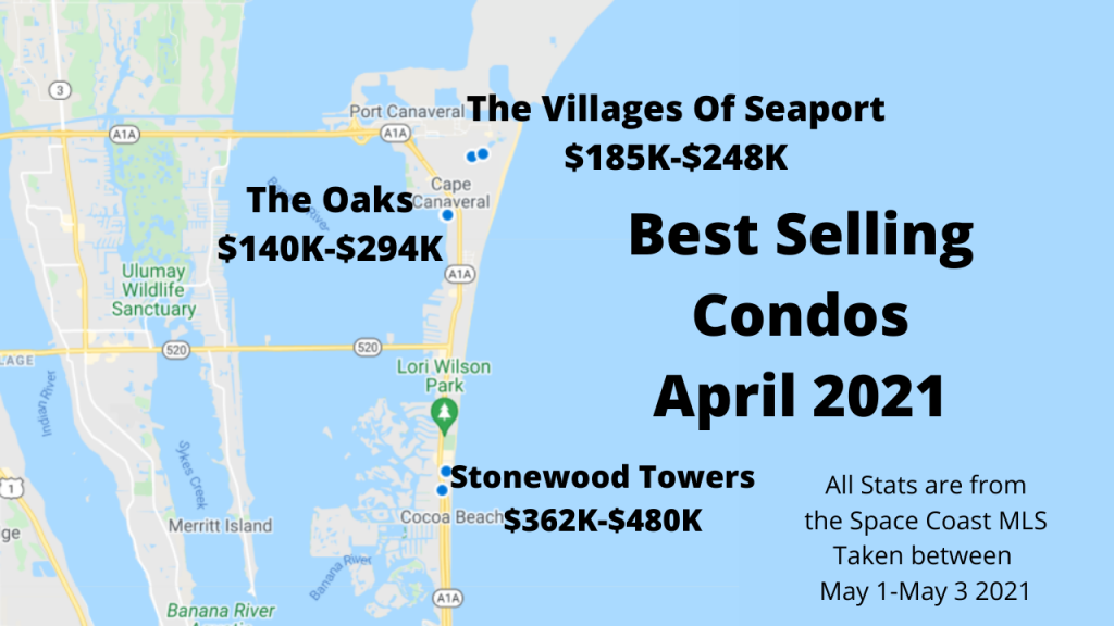 map view of the best selling condo communities in Cocoa Beach and Cape Canaveral for April 2021