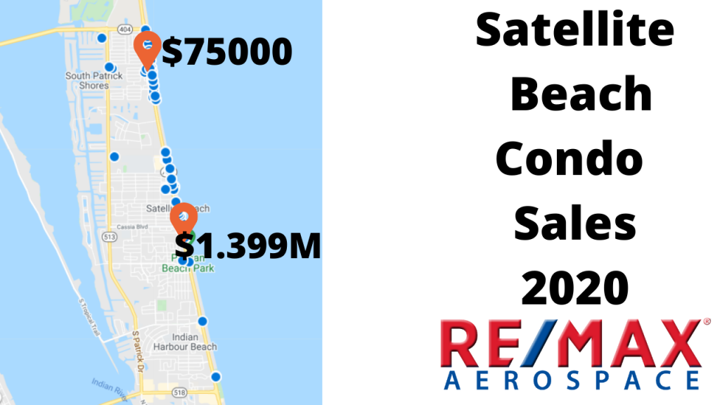 Condo sales in Satellite Beach for 2020 ranged from $75K to $1.399M. The map shows where the condo sales were in Satellite Beach.