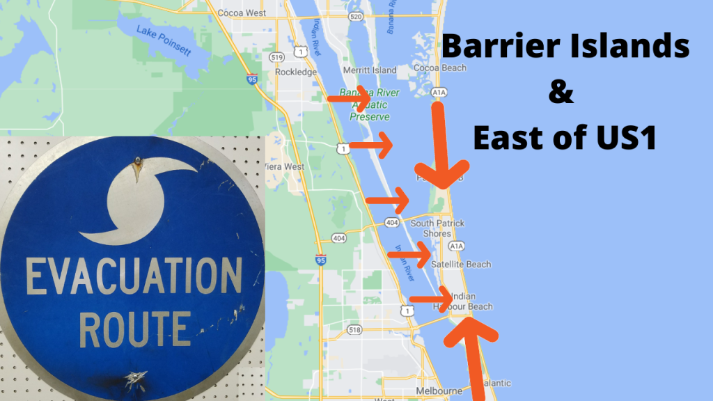 Google map view of central Brevard County pointing out the barrier island and east of US1. If you live here, you should evacuate if they ask you to during an approaching storm.