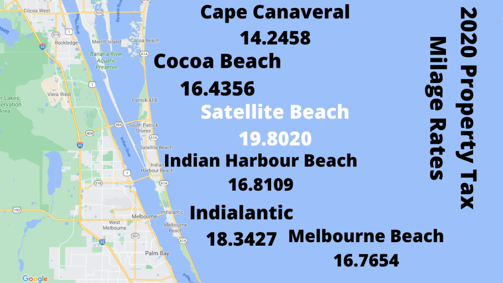 google map screen shot of the barrier island in Brevard. The millage rate for the beach towns for 2020 are on the graphic.
