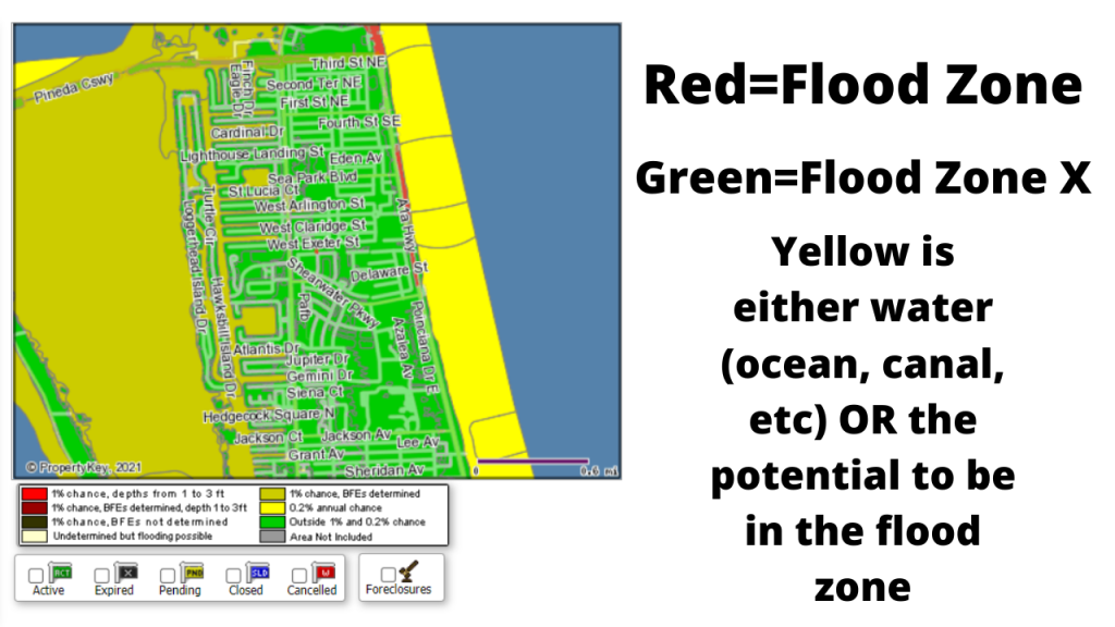 A screenshot of the flood map of north Satellite Beach that is color coded. Green indicates flood zone X. Red indicates a high threat of flooding (usually ocean front) the yellow either indicates water OR you are