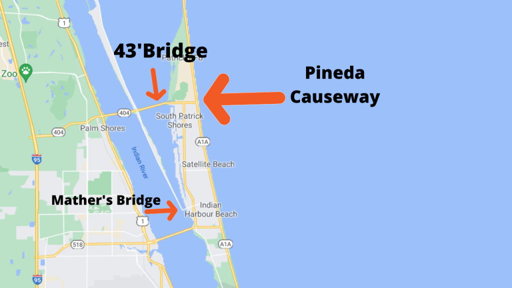 google map view of Satellite Beach pointing out the bridge locations on the banana river and bridge height on the Pineda Causeway (43'). The Causeway bridges on the Indian River are 64'.