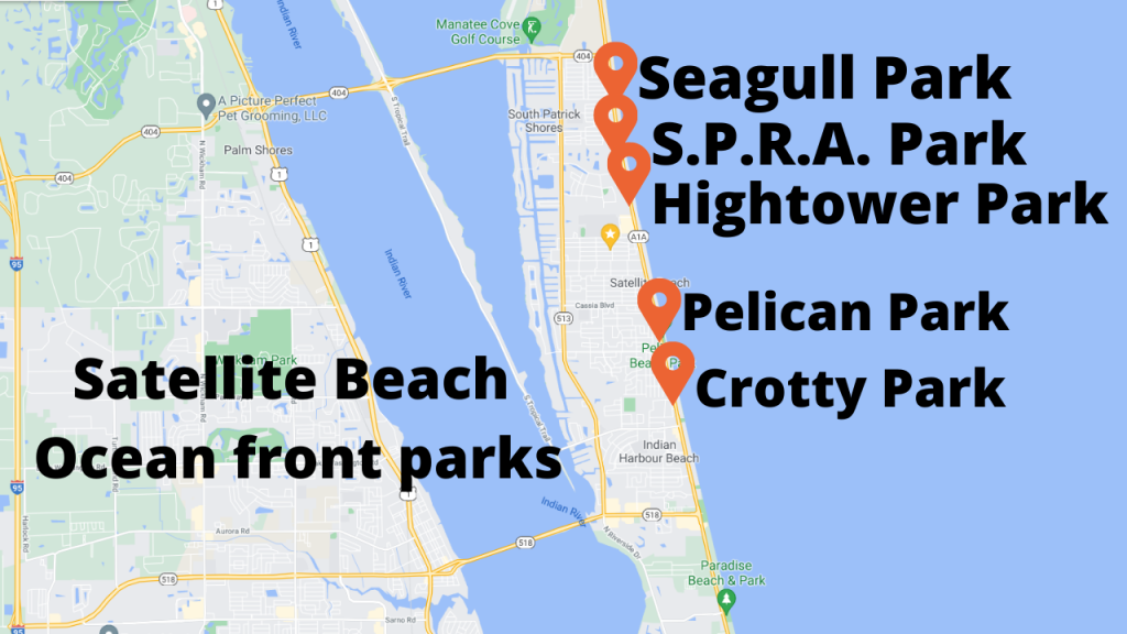 Google Map showing the city of Satellite Beach and the 5 ocean front parks.