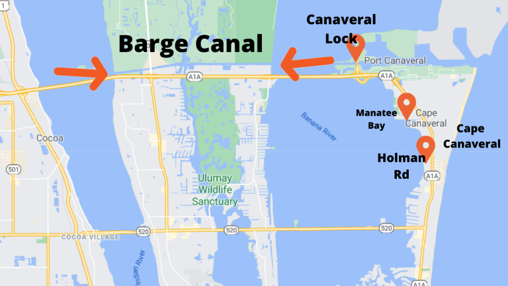 Map view of Cape Canaveral Florida showing the two communites that have river front homes. Also shown is proximity to the Canaveral Locks and the Barge Canal.