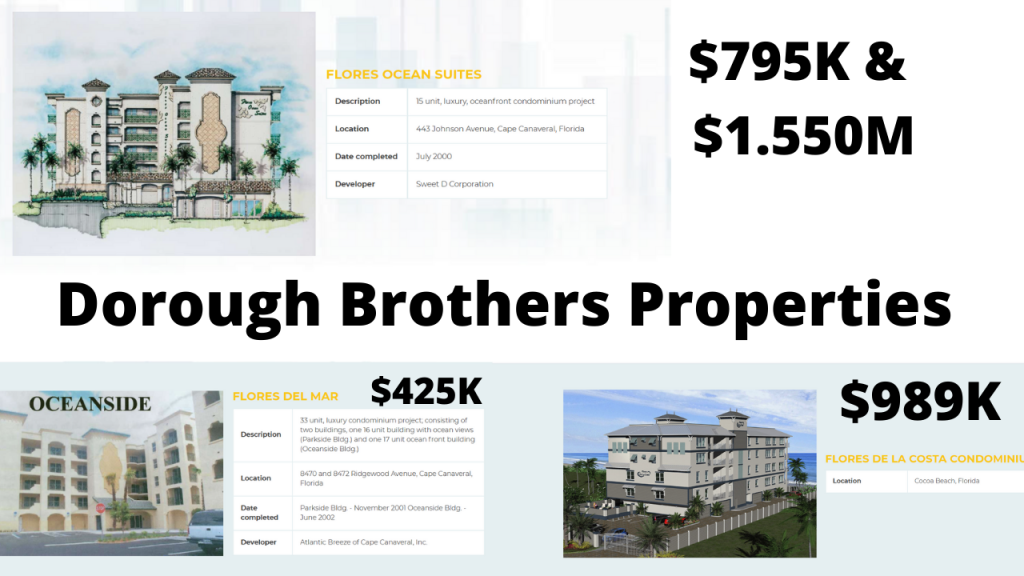 The Dorough Brothers Properties have 3 existing projects completed in Cocoa Beach & Cape Canaveral Flores Del Mar, Flores De La Costa, and Flores Ocean Suites. Their 4th project is just breaking ground with the Surf Condominium near downtown Cocoa Beach.