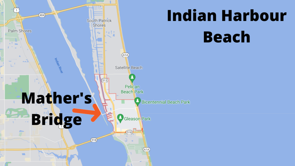 Map view of Indian Harbour Beach. The Eau Gallie Causeway connects this barrier island to the mainland. Indian Harbour Beach is also connected to Merritt Island via Mather's Bridge.