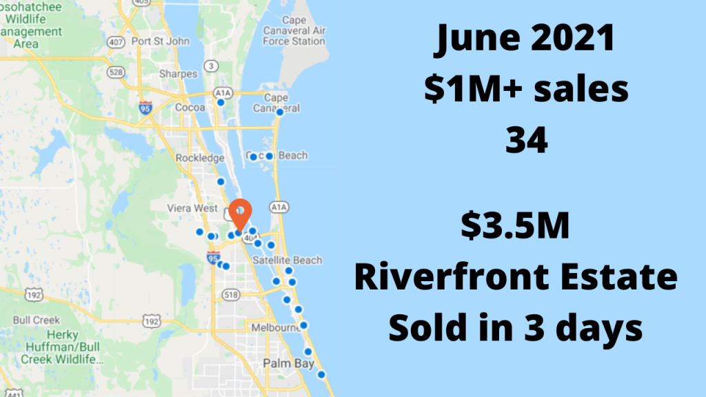 Map View of the $1M+ home sales for the month of June 2021.