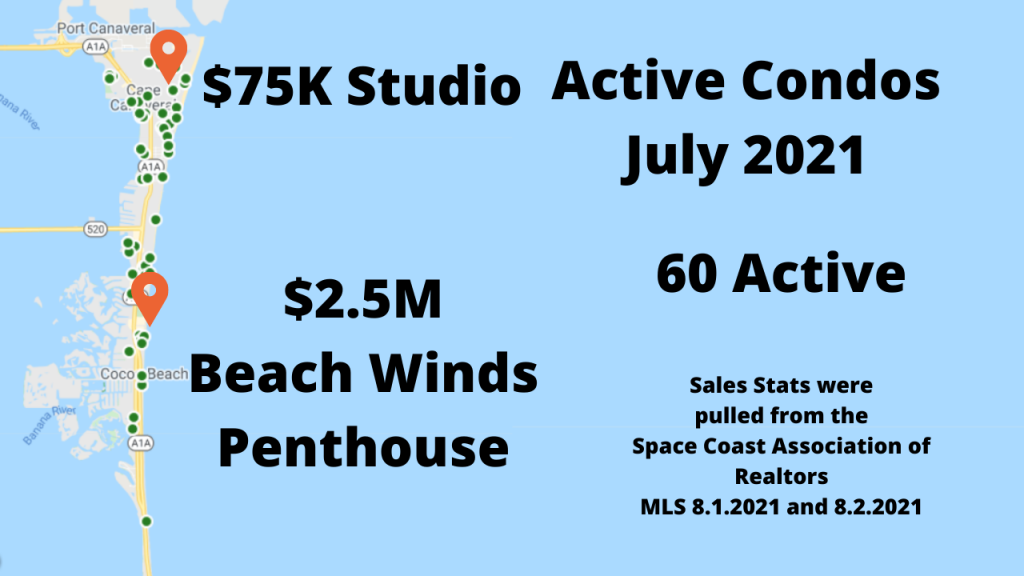 map view of Cocoa Beach and Cape Canaveral Florida as an info-graph. Current condo inventory is 60 units for sale between 75K-$2.5M