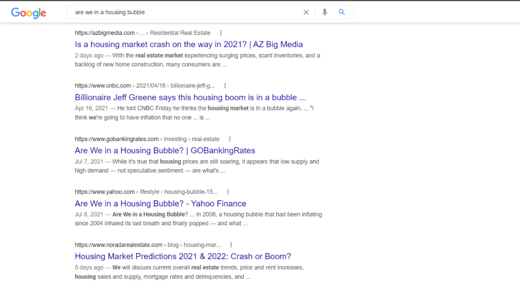 """screen shot from the computer showing the headlines from the search """"are we i n a housing bubble"""""""