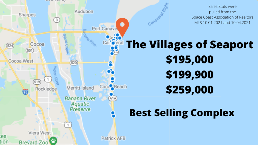 Map view of the sold condos in Cocoa Beach and Cape Canaveral. The Villages of Seaport is the best selling complex for September.